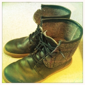 PoZu boots with Maharishi tweed