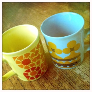 granny's old patterned mugs